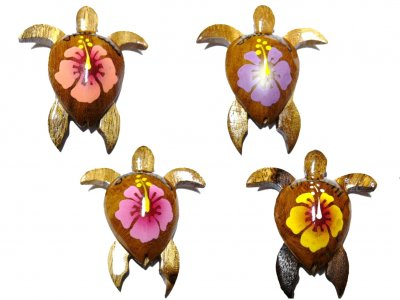 "2"" Wood Turtle Magnets with Assorted 4 Color of Painted Flower"