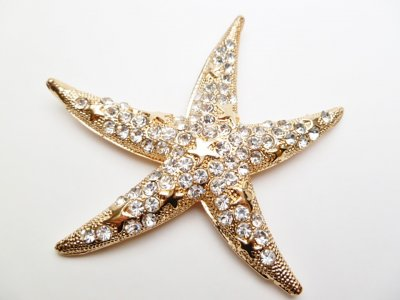 "2.75"" White Crystal Starfish Magnet"
