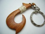 "2"" Wood Fish Hook Keychain"