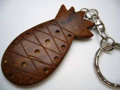 "2"" Natural Wood Pineapple Key Chain"