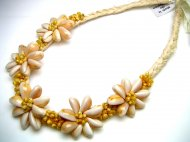 Pink Sigay (Cowry) Shell with Yellow Mongo Shell Raffia Necklace