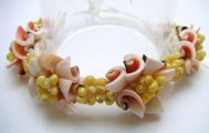 Pink Everlasting Shell with Yellow Mongo Shell Raffia Bracelet