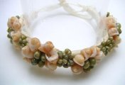 Frog Shell with Green Mongo Shell Raffia Bracelet