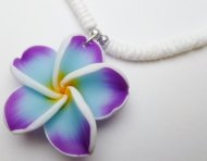 "Lavender & White Fimo Flower w/ 18"" Clam Shell Necklace"