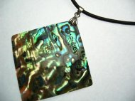 40mm abalone shell pendant on 2mm leather necklace 16""