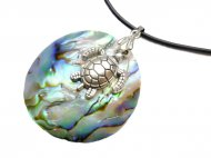 40mm Paua Shell Necklace w/2.0 Rubber Cord 16""