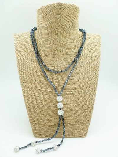 3pcs 10mm White Crystal Ball Dark Grey Glass Bead Necklace 42""