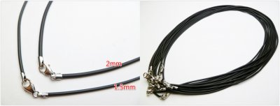 1.5mm Black Rubber Cord with 925 Silver Clasp