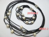 8 Strands Black Leather Bracelet w/ White Fresh Water Pearls