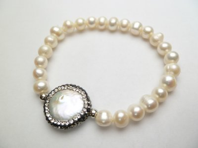 7-8mm fresh water bracelet with Round Fresh water pearl Stone-cr