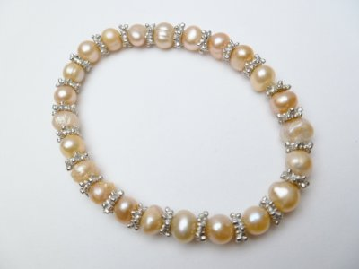 Peach Genuine Fresh Water Pearl Bracelet with Pewter Spacer