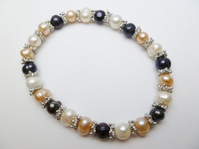 Multi-Color Genuine Fresh Water Pearl Bracelet w/ Pewter Spacer
