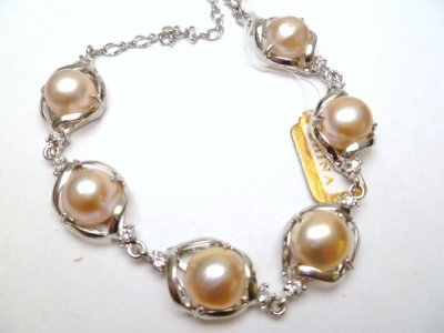 18KGP Lavender Genuine Fresh Water Pearl with C.Z. Bracelet