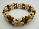 Natural Beige & Brown Memory Wood Elastic Bracelet
