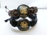 Genuine Leather Bracelet with Turtle & Aloha Design