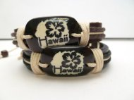 "Hibiscus-Genuine Leather ""Hawaii"" ID Bracelet"