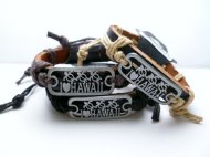 "Genuine Leather with Metal 3-Turtle & ""I Love Hawaii"" ID Bracele"