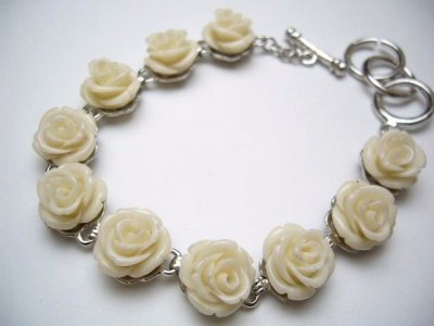 White Simulated Coral Flower Bracelet