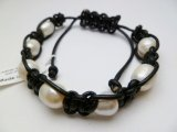 Black Leather with White Fresh Water Pearls Bracelet