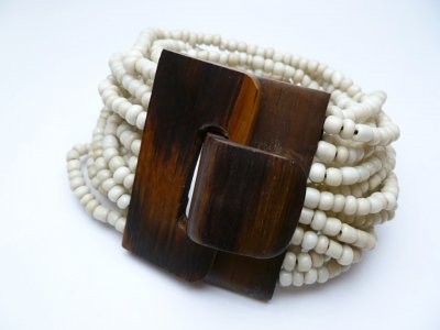 48x37mm Wood Pendant w/White Multi-Strands Sea Bead Bracelet