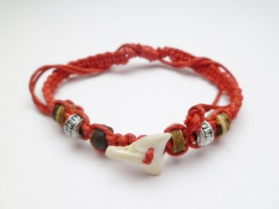 Shark Tooth w/ Red Adjustable Cord Bracelet