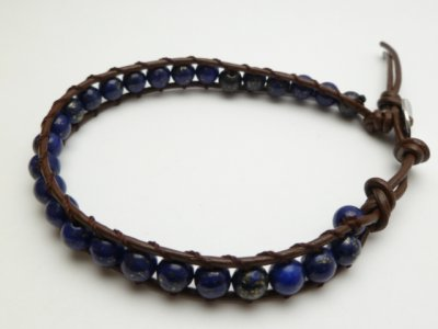 Dark Blue Beads with Dark Brown Leather Bracelet
