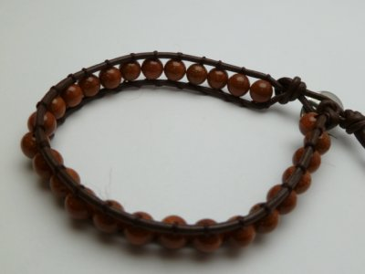 6mm Goldensand Beads with Dark Brown Leather Bracelet