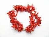 Sea bamboo coral & fresh water pearl bracelet