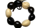 Tri-Color (Black, Brown & White) Kukui Nut Stretchy Bracelet