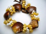 Brown Cackle Shell w/ Yellow&White Mongo Shell Stretchy Bracelet