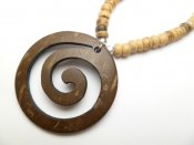 Wood Pendant with Coconut Necklace