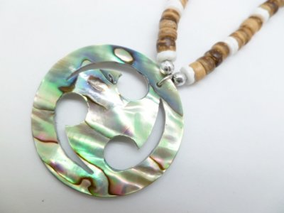 Abalone Shell Pendant with Coco Necklace
