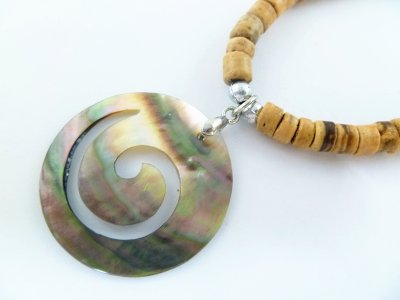 Black Circle of life MOP Shell Pendant with coco necklace