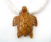 Natural Wood 40mm Turtle Pendant with White Clam Shell Necklace