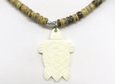 "White Bone Fish Turtle Pendant with 18"" 4/5mm Coco Bead Necklace"