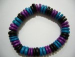 10 mm Genuine Coco Purple Blue & Black Bracelet