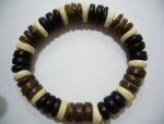 10 mm Genuine Coco Black White & Brown Bracelet