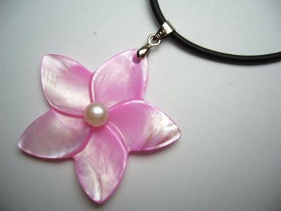 40mm Hot Pink MOP Plumeria Flower w/ Pearl Rubber Cord necklace