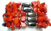Multi-Task Magnetic Necklace/ Bracelets with Red Seabamboo