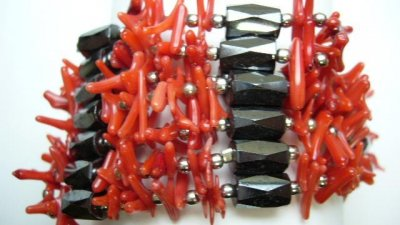 Multi-Task Magnetic Necklace/ Bracelets with Red Bamboo