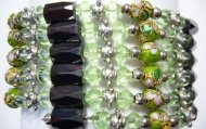 Multi-Task Magnetic Necklace/ Bracelets w/ Green Cloisonne Beads