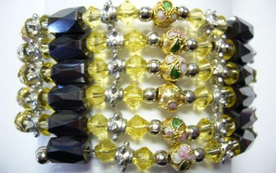 Multi-Task Magnetic Necklace/Bracelets w/ Yellow Cloisonne Beads