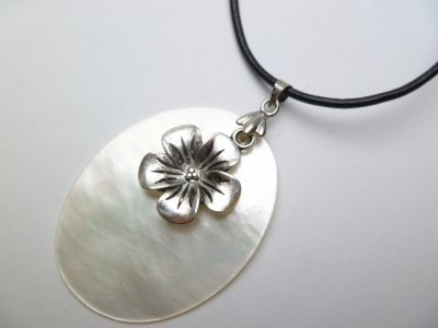 40mm White Mop Shell Pendant with Leather Necklace w/ Charm
