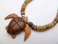 "Wood Turtle with 18"" Light Brown Coconut Necklace"