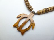 "Wood Fish Hook w/ 18"" Coconut & Wood Beads Necklace"