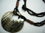 50mm Abalone Donut Shape Shell Pendant with Sea Bead Necklace