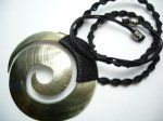 75mm-80mm Black MOP Shell Spiral with Adjustable Necklace