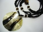 50mm Black MOP Shell Pendant w/ Black Sea Bead Necklace