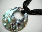 50mm Abalone Shell Donut-Shape pendant w/Black Seabeads Necklace