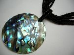 50mm Abalone Round Shell Pendant with Black Seabeads Necklace